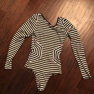 Arden B Black White Striped Thong Bodysuit S